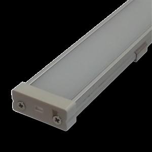 Perfil de aluminio ancho para tiras LED con frente translucido